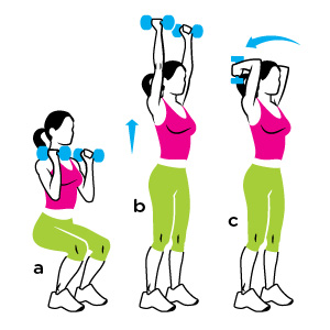 squat with overhead triceps extension
